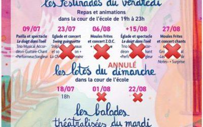 Festinades et lotos d'août annulés