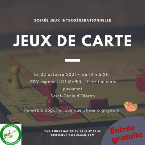 SOIREE JEUX INTERGENERATIONNELLE – VENDREDI 22 OCTOBRE DE 18H A 21H